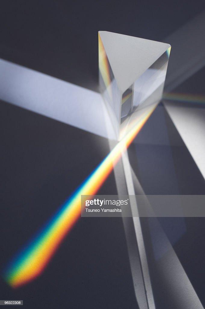 Prism splitting light into color spectrum : Stock Photo