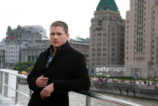 'Prison Break' star Wentworth Miller poses aboard a yacht on Huangpu river during his visit to Shanghai on October 17 2008 in eastern China