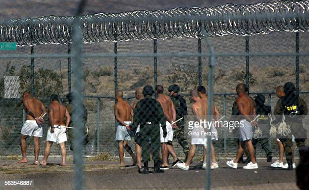 Prison guards in full riot gear escort prisoners back to their bunks after being searched for weapons after a riot Tuesday night sent 17 prisoners to...