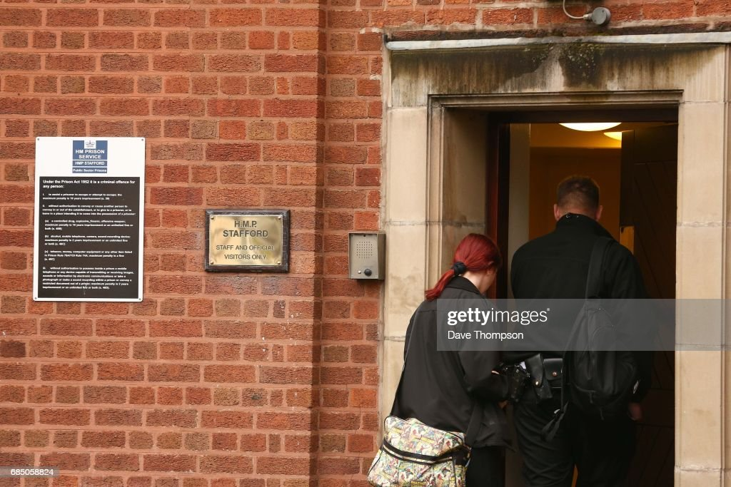 Prison staff arrive to work on the day that entertainer Rolf Harris was released from Stafford Prison on May 19, 2017 in Stafford, England. The 87 year old is due to appear at Southwark Crown Court on Monday where he is being tried on four counts of indecent assault.