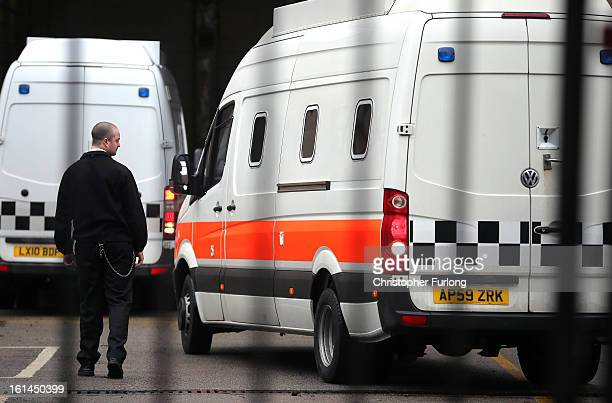 A prison van believed to contain Michael and Mairead Philpott along with third defendant Paul Mosley arrives at Nottingham Crown Court for their...