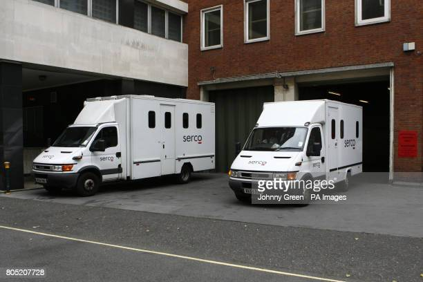 A prison van leaves Westminster Magistrate's Court in central London as Jamal Mogg from Bournemouth became the third person to be charged in...