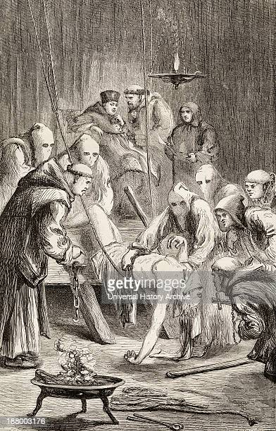 Prisoner Being Tortured During The Spanish Inquisition From The Book Of Martyrs By John Foxe Published C1865