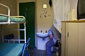 A prisoner demonstraing the cell toilet Not a nice experience when there are 2 in a cell HMP YOI Littlehey Littlehey is a purpose build category C...