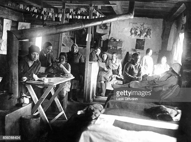 Prisoners in their shack in the Vorkuta Gulag one of the major Soviet labor camps Russia Komi Republic 1945