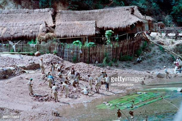 Prisoners of Burma's gulag work on February 6 1993 in a labour camp at Tar Kyauk a remote village in the east of the country The camps are widely...
