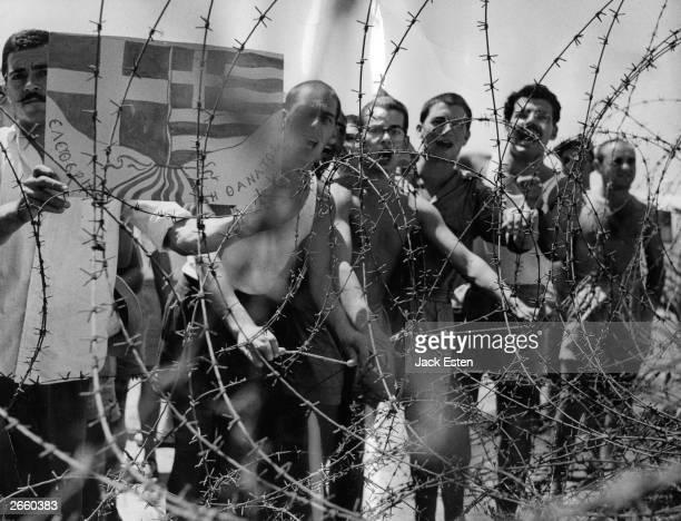 Prisoners of war in Camp Kokkinotrimithia in Cyprus where the British keep suspected EOKA terrorists it has been called the British Belsen Original...