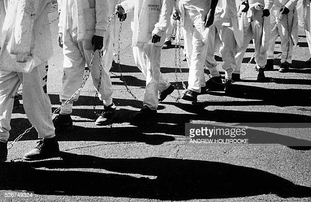 Prisoners on a chain gang at Limestone Correctional Facility make their way to a work detail | Location Harvest Alabama United States