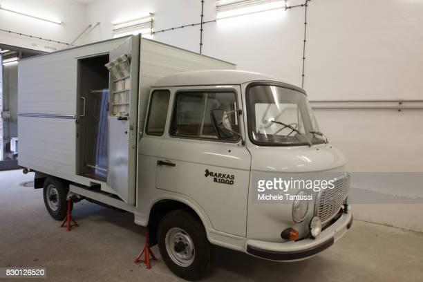 Prisoners transport van in the former prison of the East German communistera secret police or Stasi at Hohenschoenhausen on August 11 2017 in Berlin...