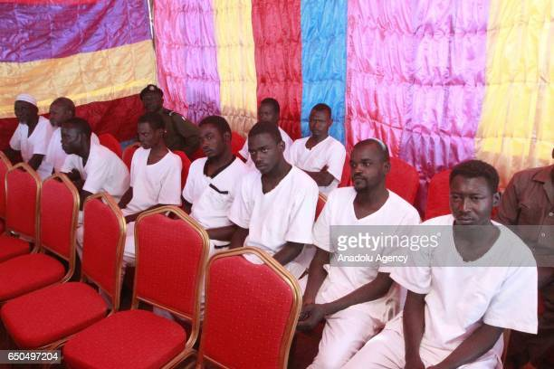 Prisoners wait to be released during a press conference in Khartoum Sudan on March 9 2017 259 prisoners including people who were sentenced to death...