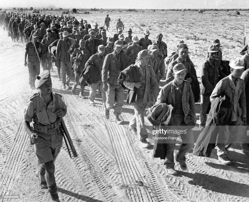 Prisonniers allemands convoy?s par des soldats ?cossais dans le d?sert ? El-Alamein, Egypte, circa 1940.