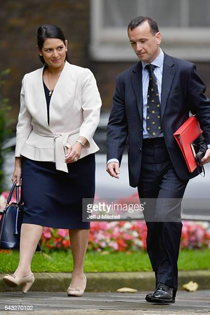 Priti Patel Minister of State for Employment and Alun Cairns Secretary of State for Wales arrive for a cabinet meeting at Downing Street on June 27...