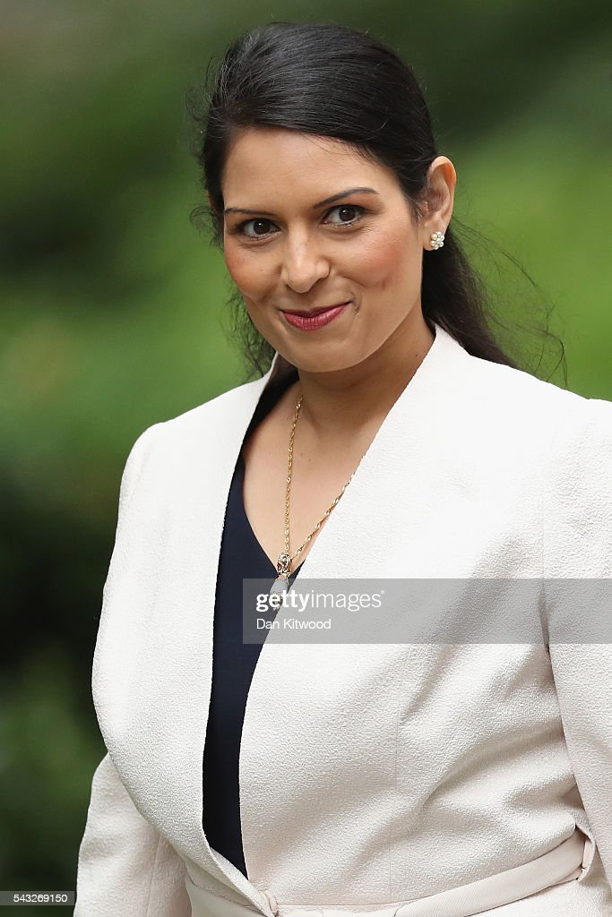 <a gi-track='captionPersonalityLinkClicked' href=/galleries/search?phrase=Priti+Patel&family=editorial&specificpeople=7114708 ng-click='$event.stopPropagation()'>Priti Patel</a>, Minister of State for Employment arrives for a cabinet meeting at Downing Street on June 27, 2016 in London, England. British Prime Minister David Cameron is due to chair an emergency Cabinet meeting this morning, after Britain voted to leave the European Union. Chancellor George Osborne spoke at a press conference ahead of the start of financial trading and outlining how the Government will 'protect the national interest' after the UK voted to leave the EU.