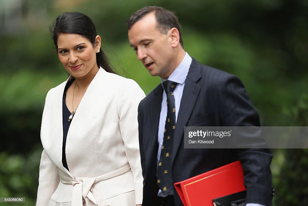<a gi-track='captionPersonalityLinkClicked' href=/galleries/search?phrase=Priti+Patel&family=editorial&specificpeople=7114708 ng-click='$event.stopPropagation()'>Priti Patel</a>, Minister of State for Employment (L) arrives for a cabinet meeting at Downing Street on June 27, 2016 in London, England. British Prime Minister David Cameron is due to chair an emergency Cabinet meeting this morning, after Britain voted to leave the European Union. Chancellor George Osborne spoke at a press conference ahead of the start of financial trading and outlining how the Government will 'protect the national interest' after the UK voted to leave the EU.