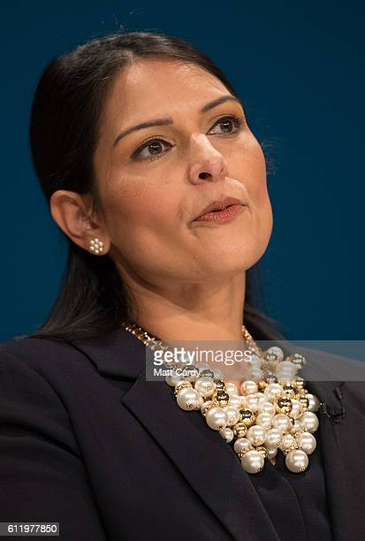 Priti Patel Secretary of State for International Development delivers a speech about Brexit on the first day of the Conservative Party Conference...