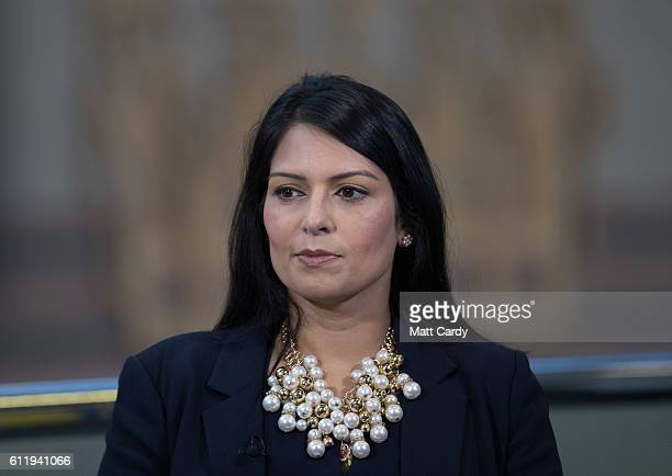 Priti Patel Secretary of State for International Development is interviewed for TV at the 2016 Conservative Party Conference which opens today at the...
