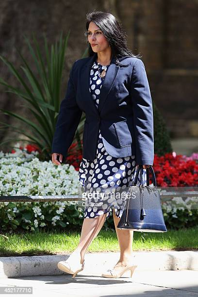 Priti Patel the new Exchequer Secretary at the Treasury arrives at Downing Street on July 15 2014 in London England British Prime Minister David...