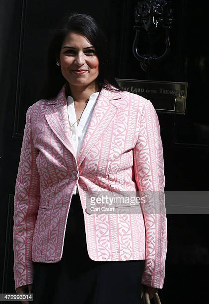 Priti Patel the newly appointed employment minister arrives at Downing Street on May 11 2015 in London England Prime Minister David Cameron continued...