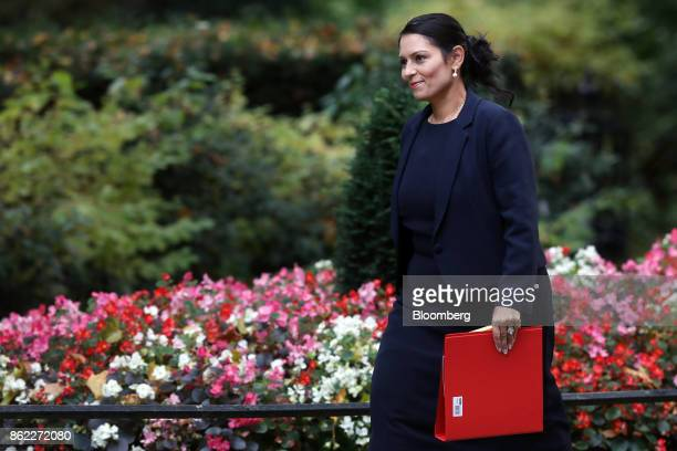 Priti Patel UK international development secretary arrives for a cabinet meeting at number 10 Downing Street in London UK on Tuesday Oct 17 2017 UK...