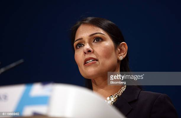 Priti Patel UK international development secretary speaks during the first day of the party's annual conference in Birmingham UK on Sunday Oct 2 2016...