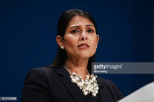 Priti Patel UK international development secretary speaks during the first day of the party's annual conference in Birmingham UK on Sunday Oct 2016...