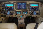 """Private Aircraft Cockpit:  The new generation of """"glass"""" cockpit instrumentation."""