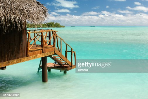 Private beach hut at the South Pacific ocean