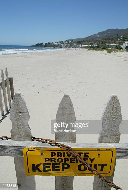 A private beach is shown on July 23 2002 in Malibu California Producer David Geffen owns a beach front property in Malibu and wants the California...