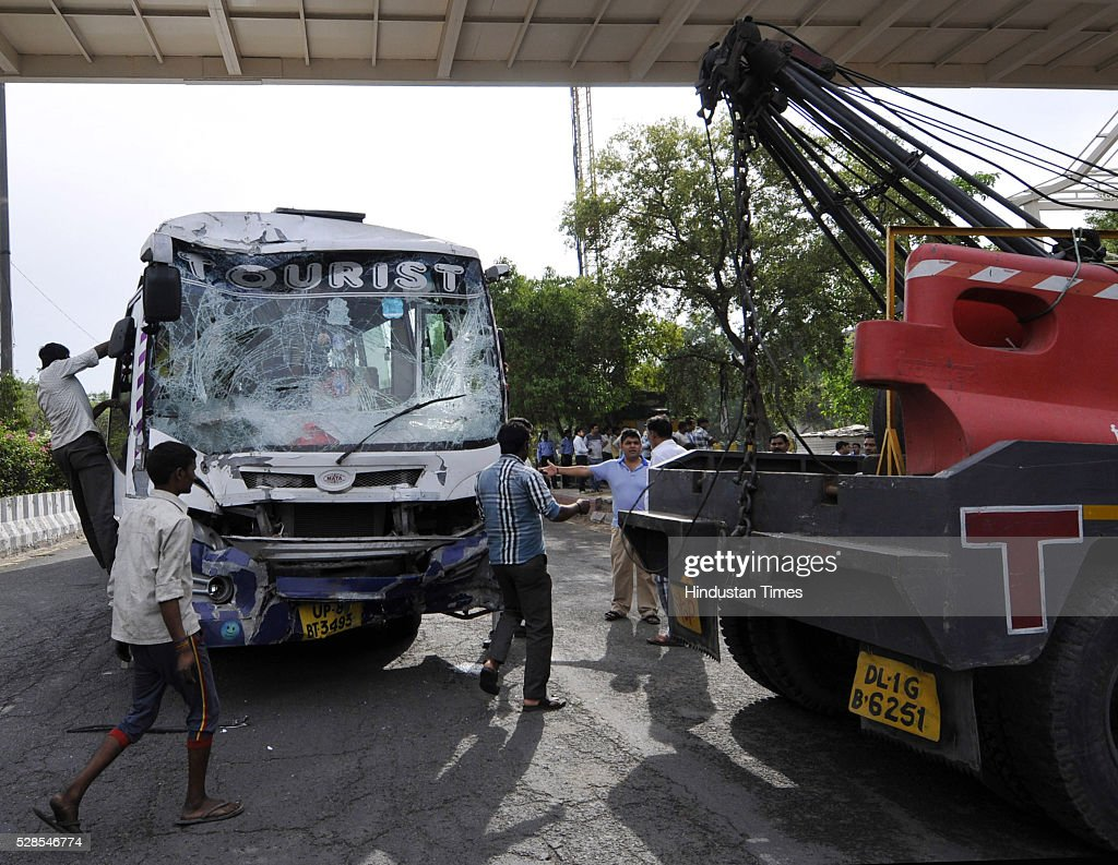 A private bus rammed a school bus from behind in between which an auto rickshaw got severely crushed led to the death of two people at sector 44, on May 5, 2016 in Noida, India. Two persons, including a woman IT employee, died in an accident at Sector 44 area on Thursday. The incident occurred at about 8 am when the deceased, Pragya Singh, 22, was travelling in an autorickshaw with her colleague Navita Verma, 24. Three children of the Marigold Public School, who were sitting on the rear seat of the bus, were also injured in the accident. However, they were discharged after the primary treatment.