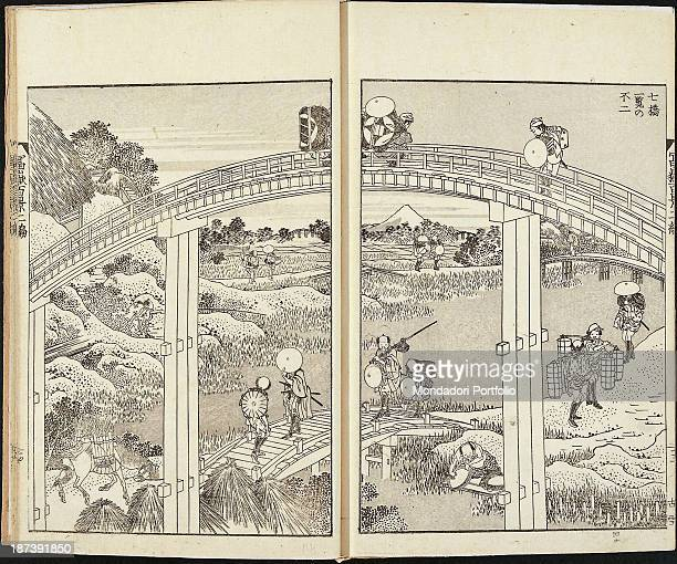 Private collection All Some Men wearing hats and a horse carrying goods in baskets cross bridges on the river with Mount Fuji and ricefields in the...