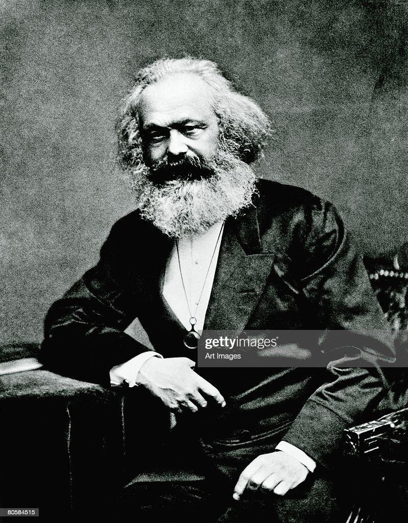 Portrait of Karl Marx (1818-1893) (b/w photo)