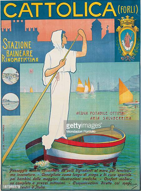 Private collection Poster advertising Cattolica All A woman sailing on a boat The sea is green and there is a blue castle in the background
