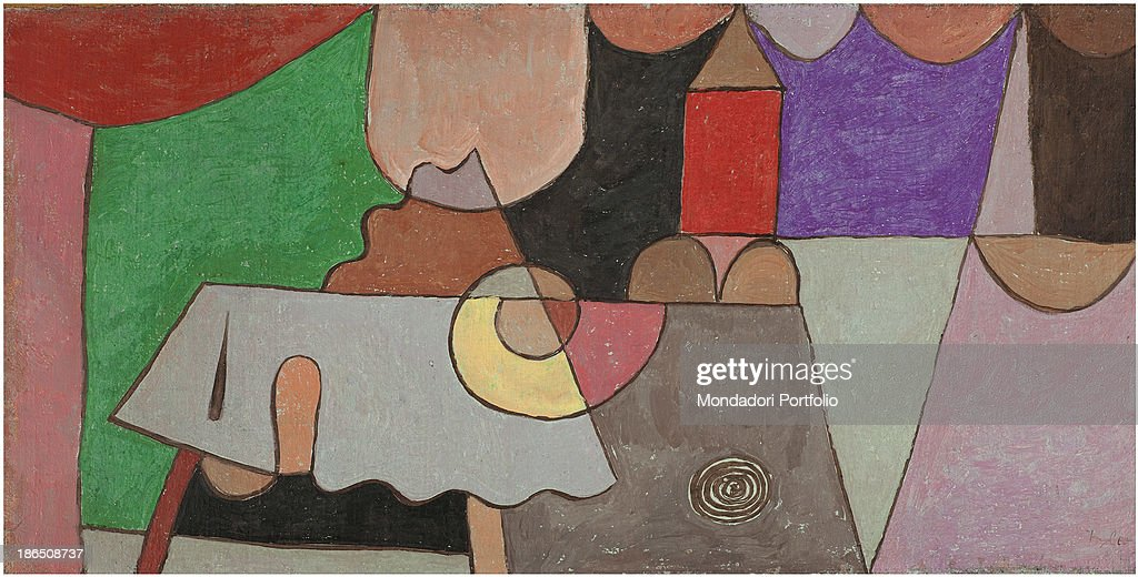 Private collection, Whole artwork view, Abstract work in which it is possible to recognize real object such as a house.
