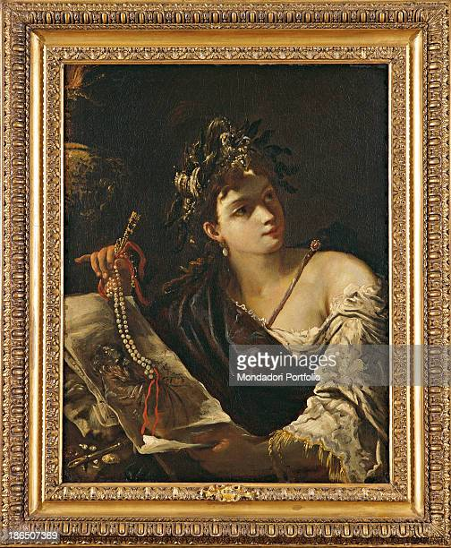 Private Collection Whole artwork view In a rich golden frame a very well dressed up woman is the allegory of painting She is holding a necklace a...