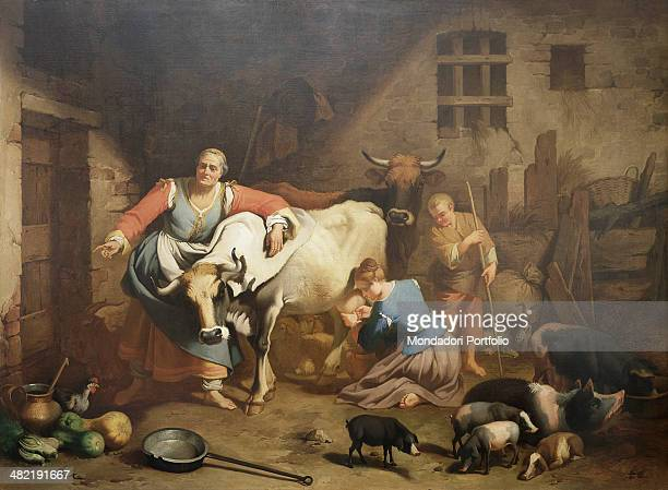 Private collection Whole artwork view Inside a barn with shepherds working and animals