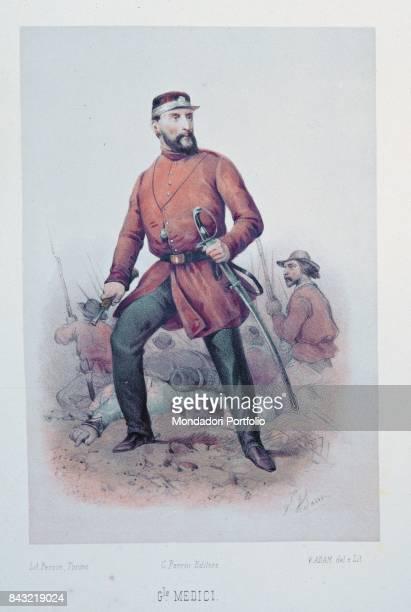 Private Collection Whole artwork view Italian general and politician Giacomo Medici Marchese del Vascello in his Garibaldi's army uniform