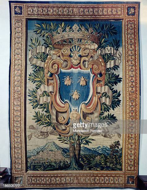 Private collection Whole artwork view Made by the Barberini tapestry workshop in Rome In a rich frame a tree with a coat of arms with the three...