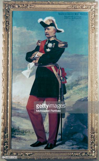 Private Collection Whole artwork view Portrait of French field marshal general and politician Patrice de MacMahon in dress uniform