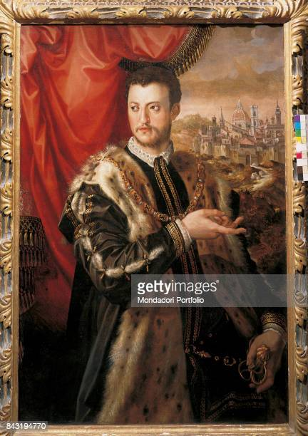 Private Collection Whole artwork view Portrait of the second Duke of Florence Cosimo I de' Medici in lavish clothes The hand of the duke seems to...