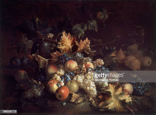 Private collection Whole artwork view Still life with a lot of fruits and dry leaves