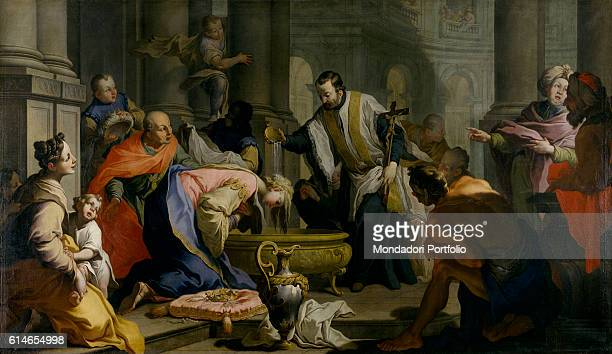 Private CollectionSan Francis Xavier pouring the baptismal water on muslim Indian princess Neachile's head