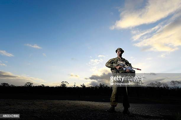 Private Dion Stergiou of the 1st Military Police Battalion poses as part of exercise Talisman Sabre on July 9 2015 in Rockhampton Australia Talisman...