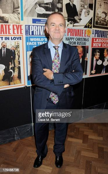 Private Eye editor Ian Hislop attends a private viewing of 'Private Eye The First 50 Years' marking the 50th anniversary of Private Eye magazine at...