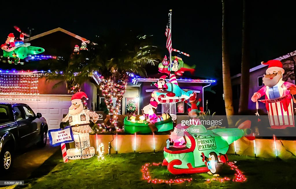 el segundo ca december 23 2014 a private home is transformed into - American Flag Christmas Lights