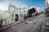 Private houses on city street with the big bias in San Francisco