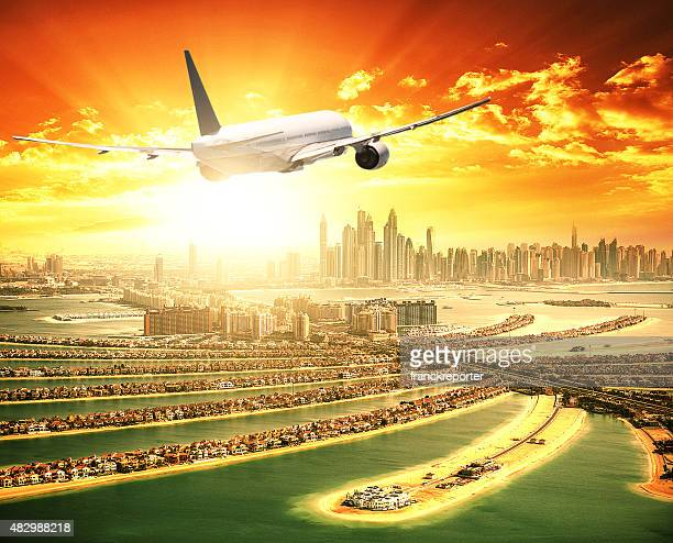 private jet over the palm jumeirah