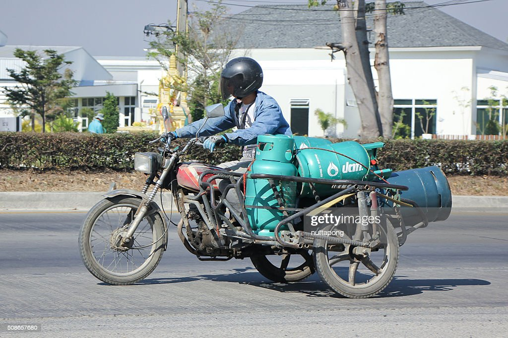 Private Motorcycle for delivery gas lpg : Stock Photo