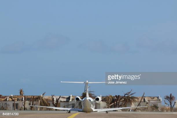 A private plane departs from the Princess Juliana Airport on September 11 2017 in Philipsburg St Maarten The Caribbean island sustained extensive...