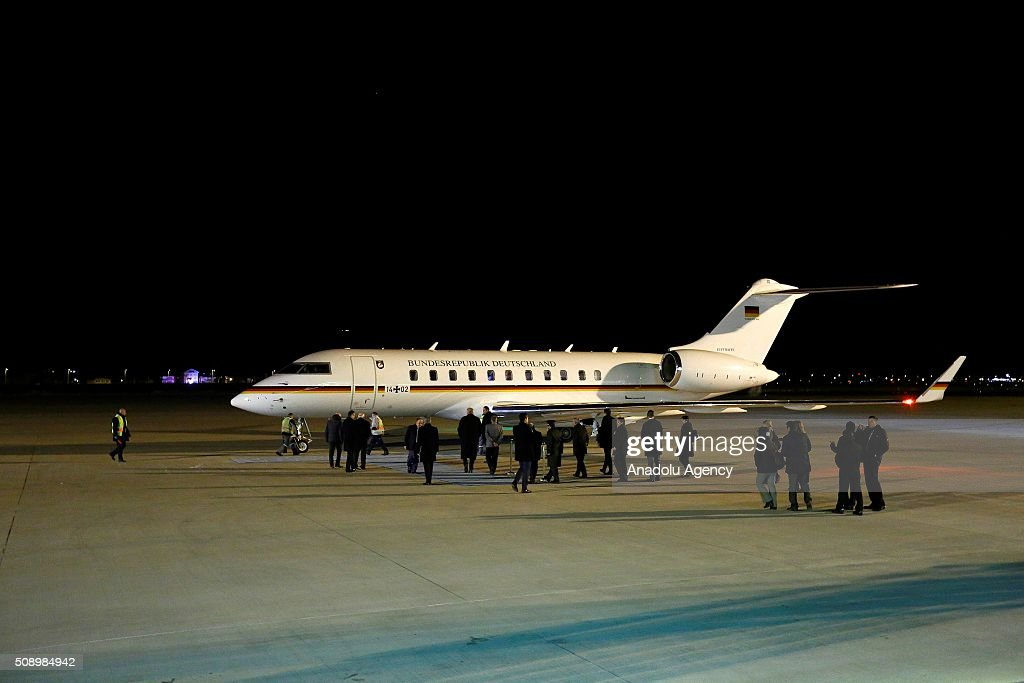 Private plane of German Chancellor Angela Merkel lands at Esenboga International Airport early Monday on February 8, 2016 in Ankara, Turkey.