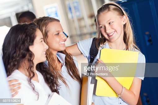 Private school girls have fun before class